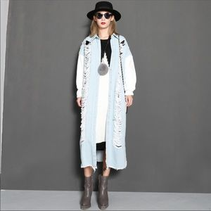 TwoTwinStyle Jackets & Coats - Distressed Denim Trench Duster